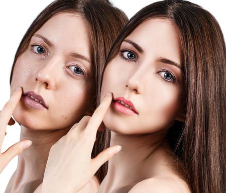 Comparative portrait of beautiful woman face