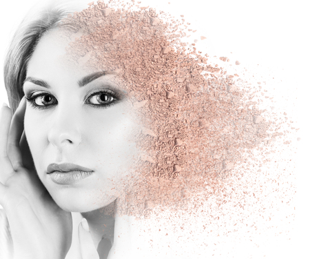 loose skin: Woman face made from crumbly powder.
