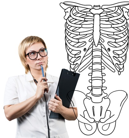 stetoscope: Doctor woman thinking near human skeleton.