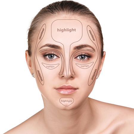 Professional contouring face make-up.