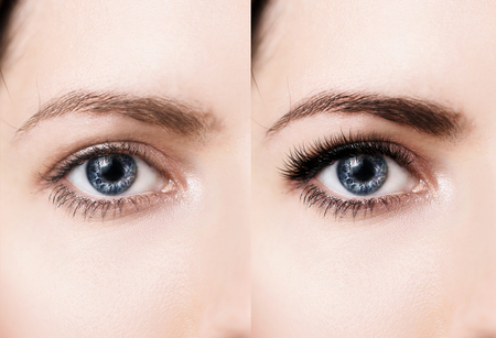 Comparison of female eyes before and after makeup and eyelash extension Reklamní fotografie - 74388075