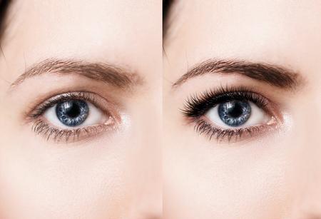 Confronto degli occhi femminili prima e dopo il trucco e l'estensione del ciglio