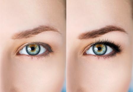 Comparación de los ojos femeninos antes y después de la extensión de maquillaje y pestañas