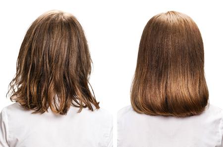 Haar van achteraanzicht voor en na behandeling op witte achtergrond. Stockfoto