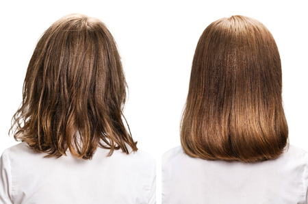 Hair from back view before and after treatment over white background. Imagens - 74560880
