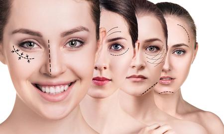 Womans gezichten met pijlen opheffen