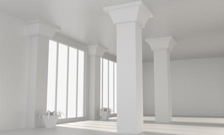 흰 벽과 열 빈 큰 다락방 방입니다. 편안한 사무실 개념입니다. 3d 렌더링입니다. 모크 업. 스톡 콘텐츠