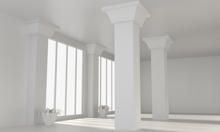 Empty big loft room with white walls and columns. Comfortable office concept. 3d rendering. Mock up.