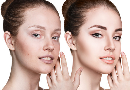 Young woman without and with makeup.