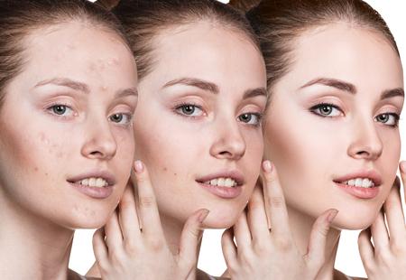 Vrouw aanbrengen make-up door stappen.