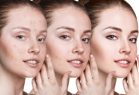 Woman applying makeup by steps. Stock Photo