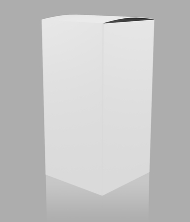 storage box: Blank white tall box. 3D rendering.