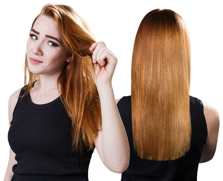 Womans hair before and after treatment. Stock Photo
