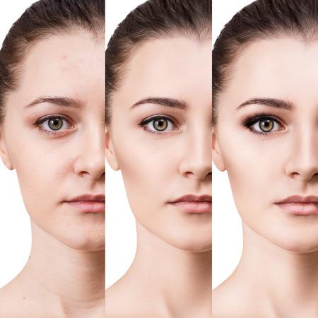 Woman applying makeup by steps. Banco de Imagens