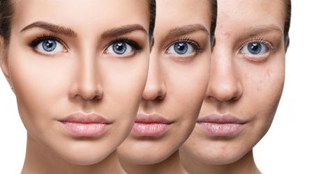 Frau, die Make-up durch Schritte anwendet. Standard-Bild - 82193728