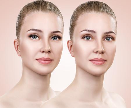 Frau vor und nach Wimpernverlängerung. Standard-Bild - 82518534