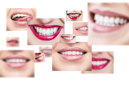 人々 の健康的な笑顔のコラージュ。 写真素材