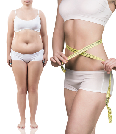 Collage of female body before and after weight loss over white background Stock Photo
