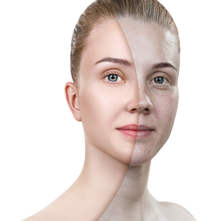 Comparison portrait of young woman