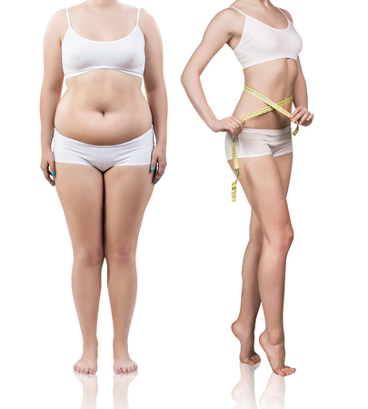 Womans body before and after weight loss.