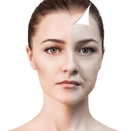 여자 얼굴 회춘 전후. 스톡 콘텐츠