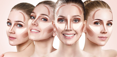 Collage of womans faces with contouring makeup. Stock Photo