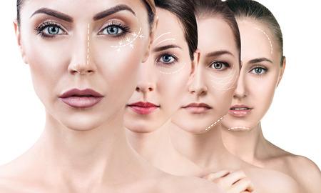 Collage of woman with lifting arrows. Zdjęcie Seryjne