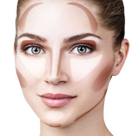 Woman with sample contouring and highlight makeup