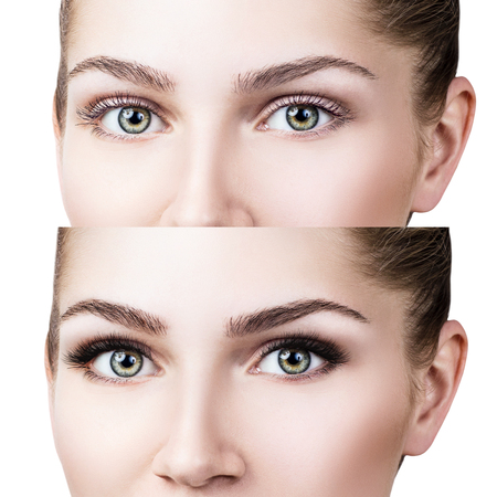 Female eyes before and after eyelash extension Stock Photo
