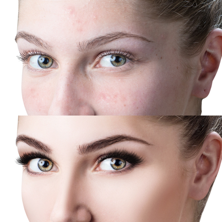 Female eyes before and after eyelash extension Фото со стока