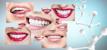 Collage of healthy teeth with big molecule chain.