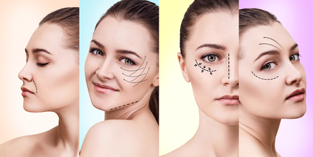 aging face: Young woman in plastic collage. Stock Photo
