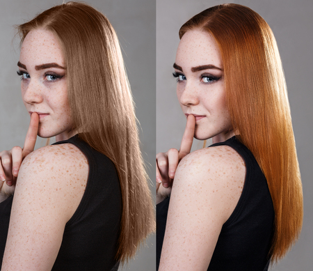 Hair before and after dyeing and treatment. Stock Photo