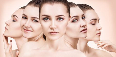 Womans beauty faces with perfect skin.