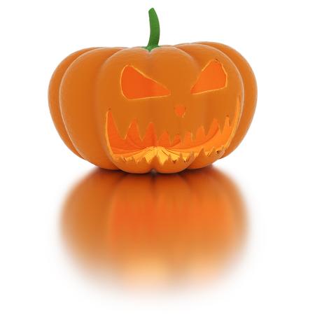 3d Halloween Pumpkin. Jack O Lantern isolated on white. 3D rendering.