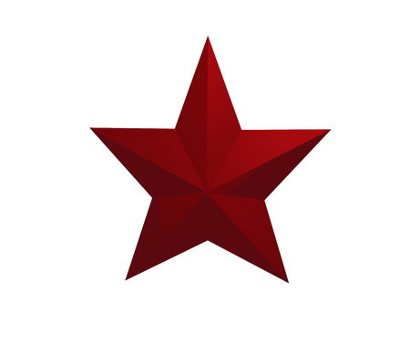 3D bright red star isolated on white background. 3D rendering
