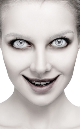 Scary female face with helloween horror grimm. Stock Photo