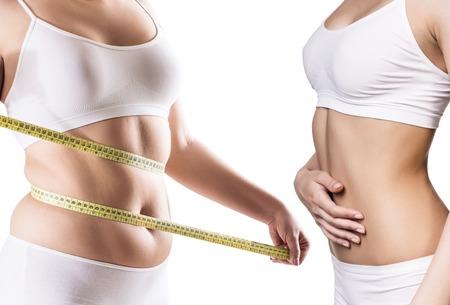 Womans Körper vor und nach Gewichtsverlust. Standard-Bild - 88806172