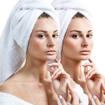 woman bath: Young woman before and after retouch. Stock Photo