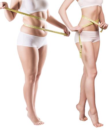 Womans Körper vor und nach Gewichtsverlust. Standard-Bild - 88806250