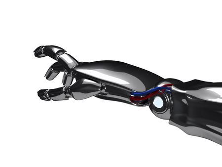 Metallic robot hand. 3d rendering