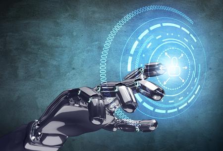 La mano robótica trabaja con infografía virtual.