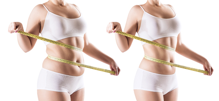 Womans body before and after weight loss. Stock Photo - 90574753
