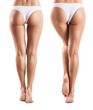 Collage met perfecte benen vanuit verschillende weergave. Stockfoto