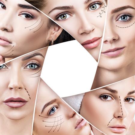 Femme face à des flèches en plastique en giaphragme Banque d'images - 91087126