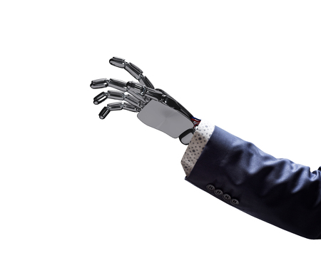 Robotic hand in business suit point on something.