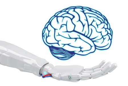White robot hand holding virtual brain. Stock Photo