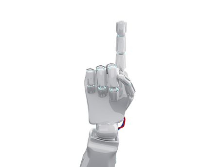 White robotic hand shows forefinger. 3d rendering