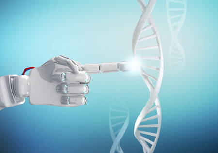 White robotic hand touches DNA chain. 3d rendering