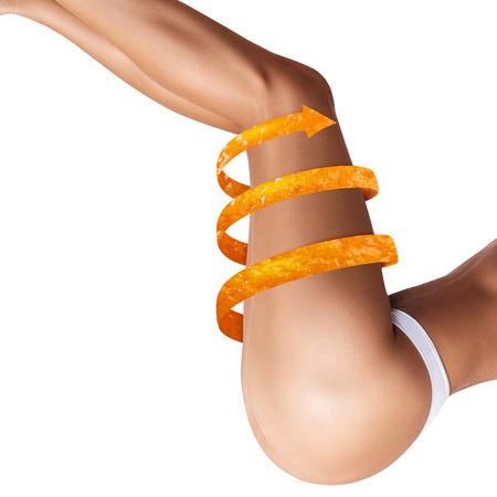 Female legs with big orange peel arrow shows tightening effect. Isolated on white. 版權商用圖片
